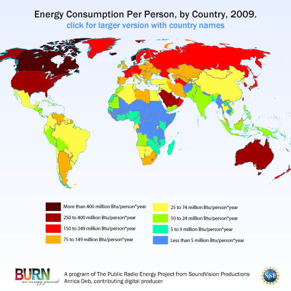 Annual energy consumption per person